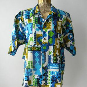 Vintage 1960s Men's Blue Cotton Hawaiian Shirt